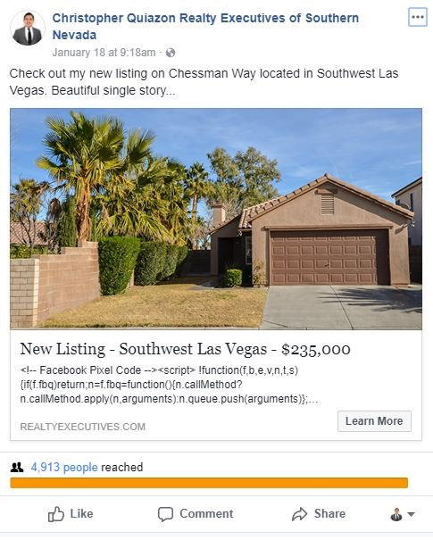 Facebook Marketing, Property was exposed to over 5,000 buyers in a matter of 5 days.