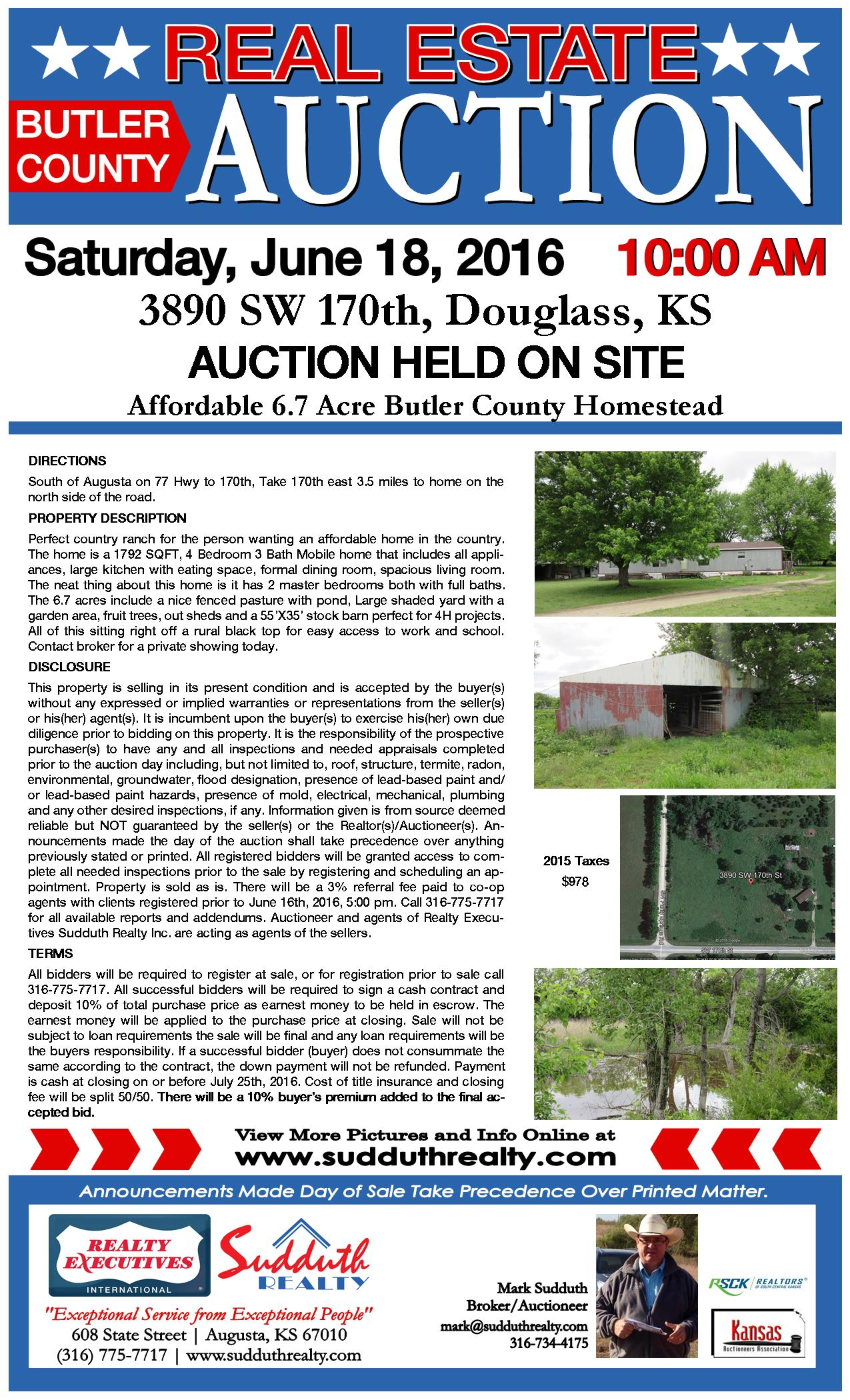 Kansas butler county augusta - Click Here For Auction Flyer Or Bidder Packet