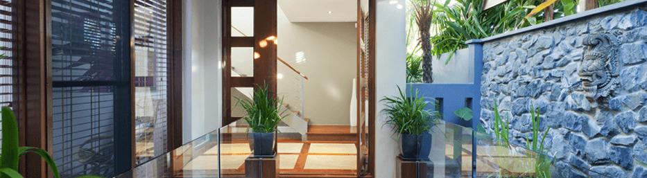 tropical atrium home entrance
