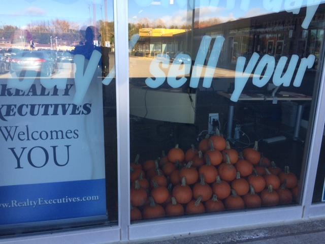 Pumpkins in the window