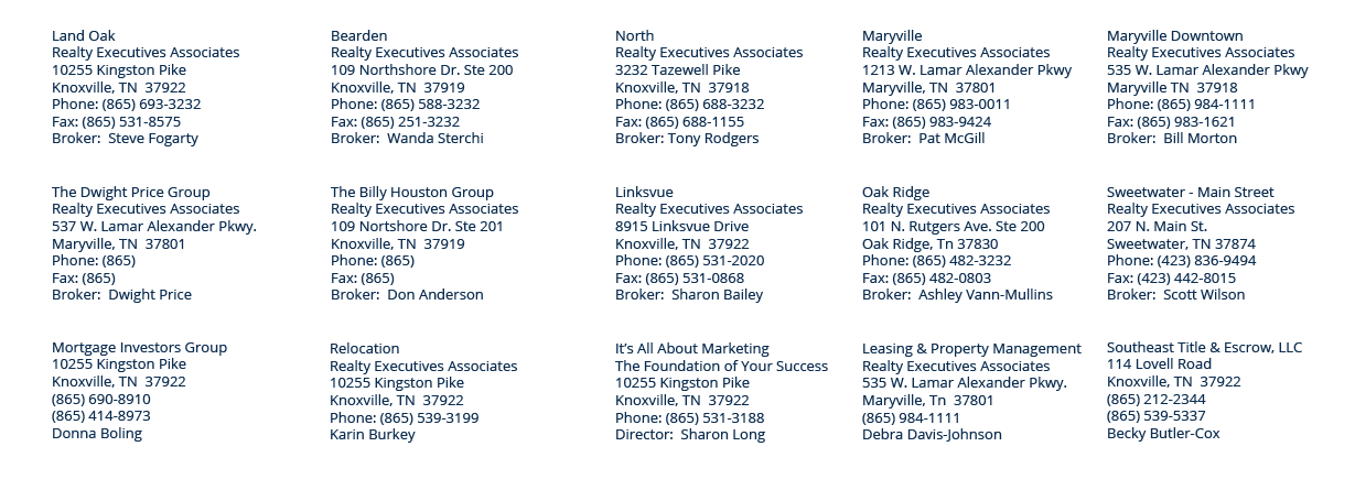 rea office locations and affiliates