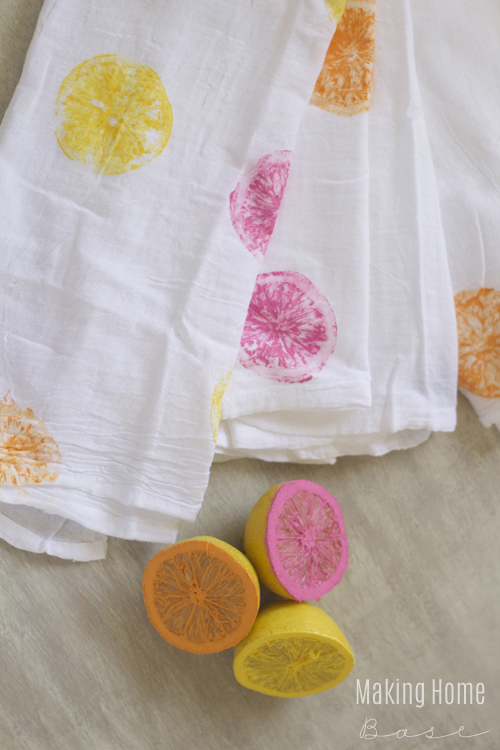 DIY Citrus Stamped Tea Towels